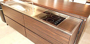 Tiger wood island with hidden cook top by j.t. Dufour Design LLC via Jamie D./Hometalk.com.