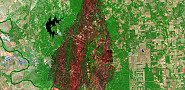 A false color image reveals the extent of the damage caused by the fire, with remaining vegetation in green and burned areas in red.  Photo: USGS Landsat/Flickr