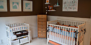 Brown wall color can be bold and fun, like in this nursery by Tabitha Blue/Fresh Mommy Blog via Flickr.