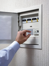white electrical panel cover