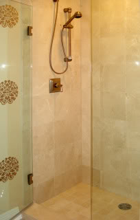 Marble tile shower