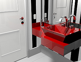 Picture of beautiful bathroom with red sink and white tile by marcus delacruz/sxc.hu
