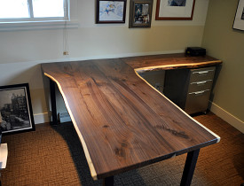 custom native edge wood desk by the author