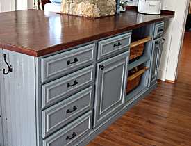 DIY pine board countertop by ThePenningtonPoint.com.