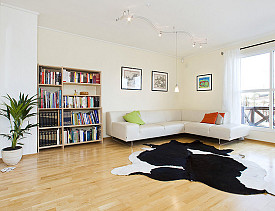 I love that rug, but if an elderly person lived there it would have to go. (Photo:  Oyvind Solstad)