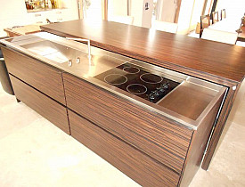 Tiger wood island with hidden cook top by j.t. Dufour Design LLC via Jamie D./Hometalk.com.