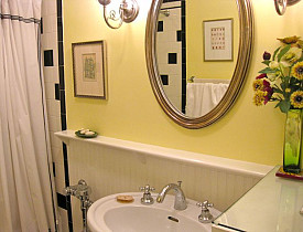 This photo shows my bathroom, with the Wood element represented in the beautiful silk flower arrangement on the right.