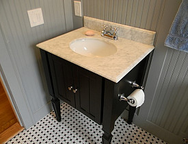 A beautiful bathroom renovated by the author, Matt Hoots of SawHorse, Inc. Photo via Hometalk.