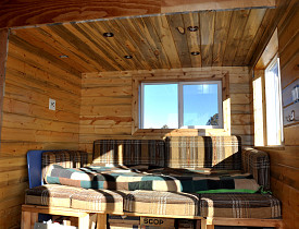 The cabin stays warm just from the sun. --Kevin