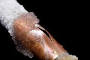 frozen burst  pipe