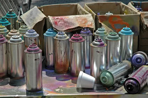 empty spray paint cans may be thrown out or recycled. Black Bedroom Furniture Sets. Home Design Ideas