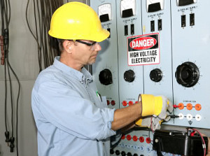electrician in gloves