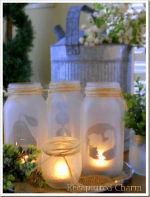 Mason jar tealight holders by RecapturedCharm.com via Hometalk.com.