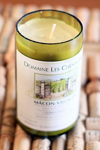 A recycled wine bottle candle holder. A clever take on an old idea. (Photo: Photos by Lina/Flickr)