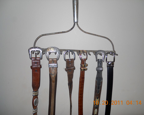 DIY rake head belt rack by Lee Anne Culpepper.
