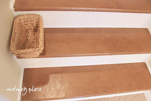 Photo and paper bag stairs by Meg from Nutmeg Place.