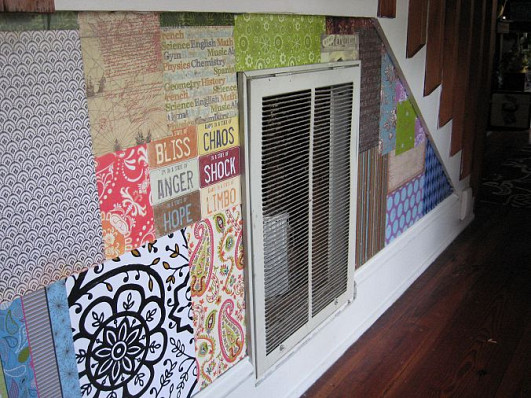 Paper bag wall and photo by Duane from Cottage in the Oaks.