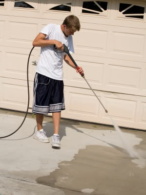 power washing driveway